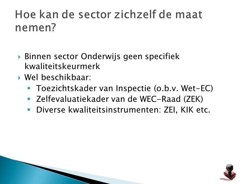  Binnen sector Onderwijs geen specifiek kwaliteitskeurmerk  Wel beschikbaar:  Toezichtskader van Inspectie (o.b.v. Wet-EC)  Zelfevaluatiekader van