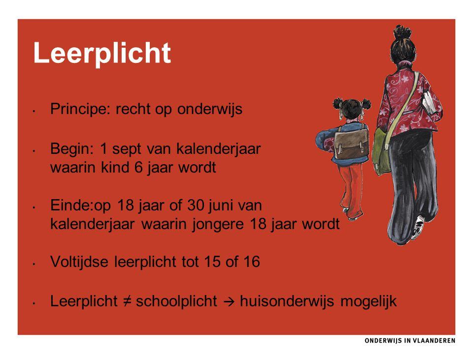 Principe: recht op onderwijs Begin: 1 sept van kalenderjaar waarin kind 6 jaar wordt Einde:op 18 jaar of 30 juni van kalenderjaar waarin jongere 18 ja