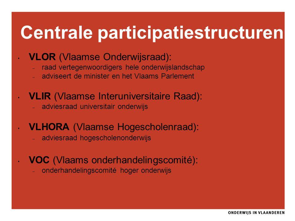 Centrale participatiestructuren VLOR (Vlaamse Onderwijsraad): – raad vertegenwoordigers hele onderwijslandschap – adviseert de minister en het Vlaams