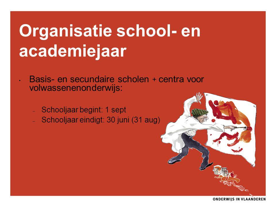Organisatie school- en academiejaar Basis- en secundaire scholen + centra voor volwassenenonderwijs: – Schooljaar begint: 1 sept – Schooljaar eindigt: