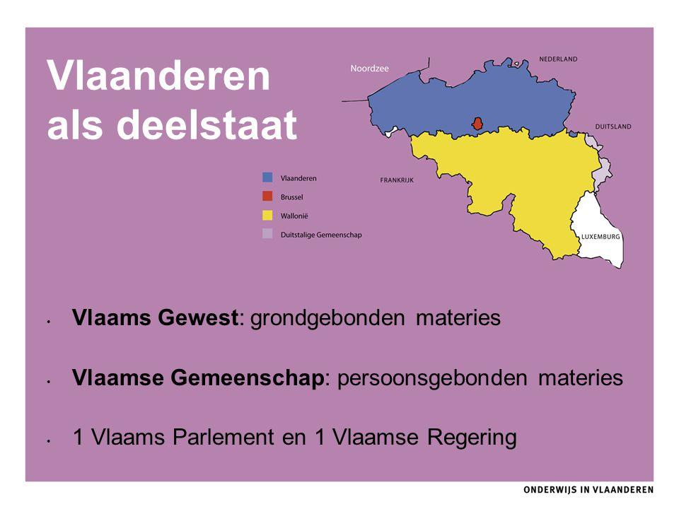 Vlaanderen als deelstaat Vlaams Gewest: grondgebonden materies Vlaamse Gemeenschap: persoonsgebonden materies 1 Vlaams Parlement en 1 Vlaamse Regering