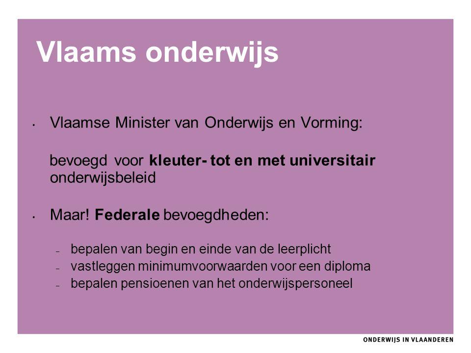 Vlaams onderwijs Vlaamse Minister van Onderwijs en Vorming: bevoegd voor kleuter- tot en met universitair onderwijsbeleid Maar! Federale bevoegdheden: