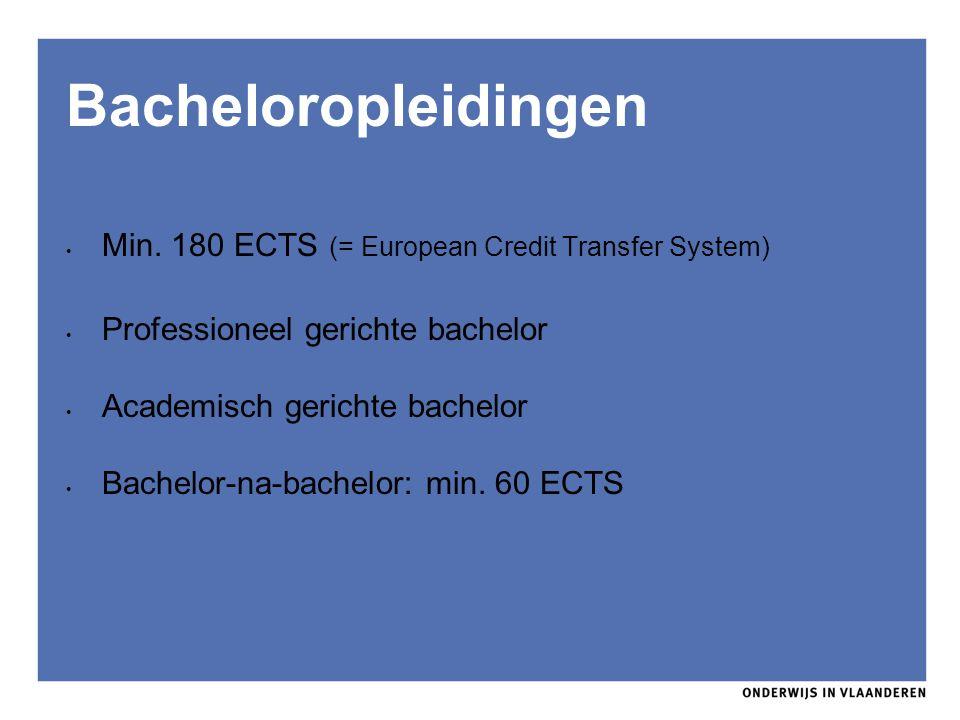 Min. 180 ECTS (= European Credit Transfer System) Professioneel gerichte bachelor Academisch gerichte bachelor Bachelor-na-bachelor: min. 60 ECTS Bach
