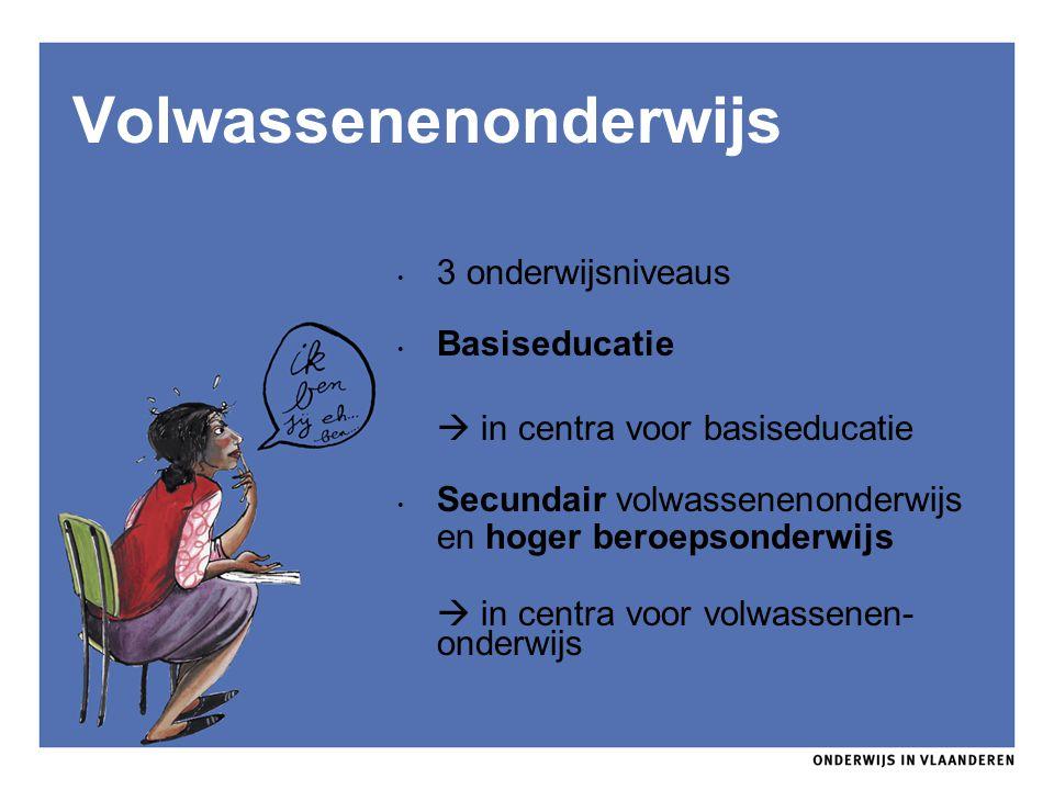 Volwassenenonderwijs 3 onderwijsniveaus Basiseducatie  in centra voor basiseducatie Secundair volwassenenonderwijs en hoger beroepsonderwijs  in cen