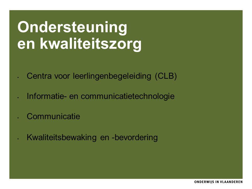 Ondersteuning en kwaliteitszorg Centra voor leerlingenbegeleiding (CLB) Informatie- en communicatietechnologie Communicatie Kwaliteitsbewaking en -bev