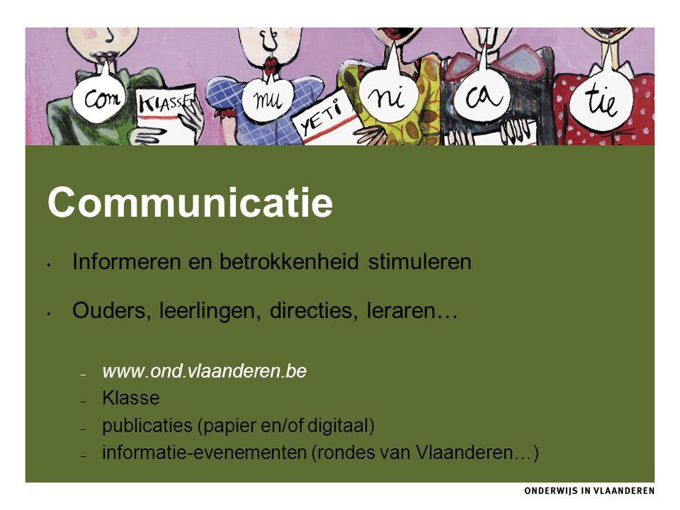 Communicatie Informeren en betrokkenheid stimuleren Ouders, leerlingen, directies, leraren… – www.ond.vlaanderen.be – Klasse – publicaties (papier en/