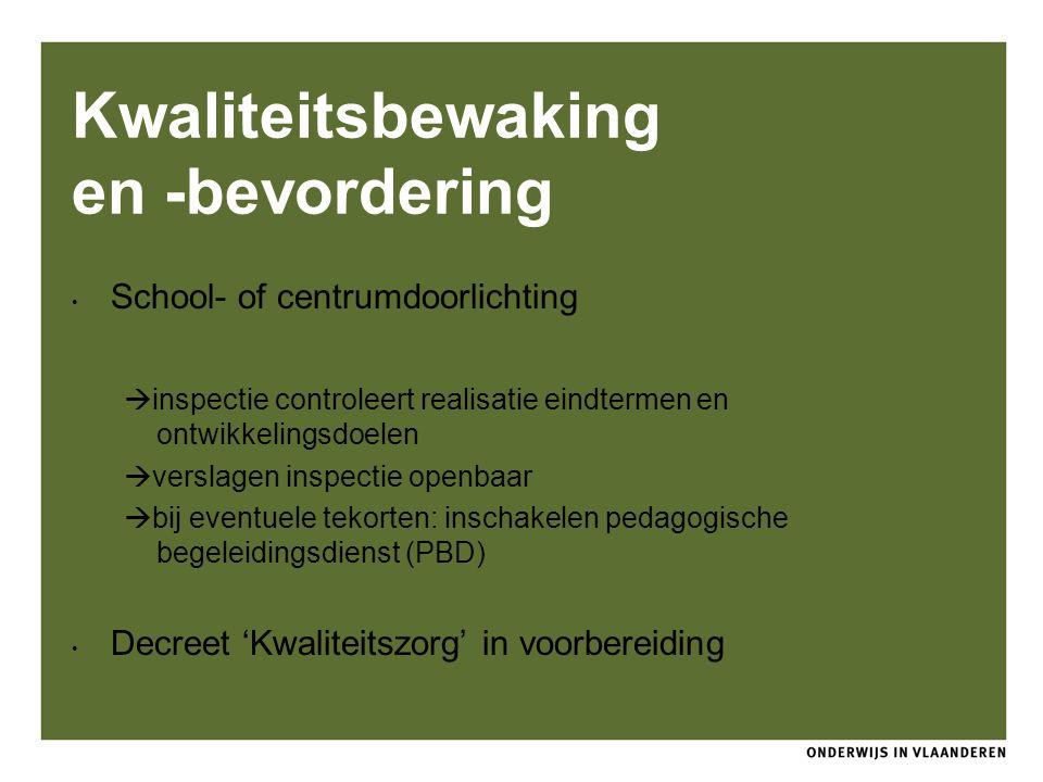 Kwaliteitsbewaking en -bevordering School- of centrumdoorlichting  inspectie controleert realisatie eindtermen en ontwikkelingsdoelen  verslagen ins