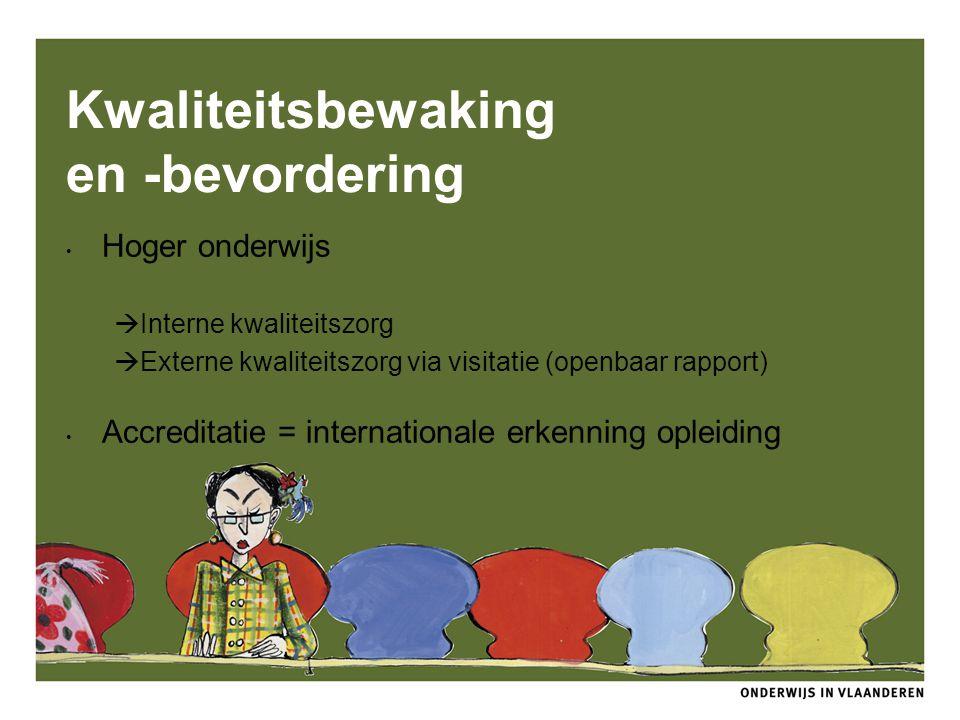 Kwaliteitsbewaking en -bevordering Hoger onderwijs  Interne kwaliteitszorg  Externe kwaliteitszorg via visitatie (openbaar rapport) Accreditatie = i