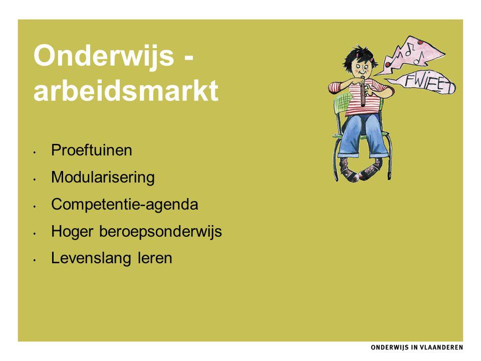 Onderwijs - arbeidsmarkt Proeftuinen Modularisering Competentie-agenda Hoger beroepsonderwijs Levenslang leren