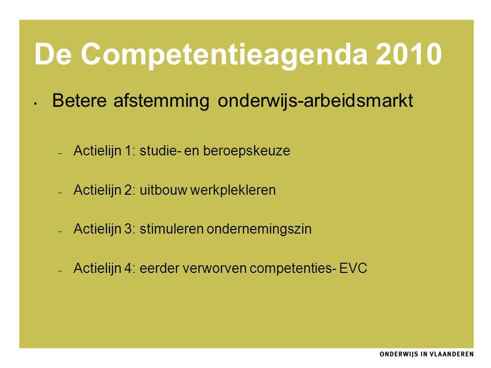 De Competentieagenda 2010 Betere afstemming onderwijs-arbeidsmarkt – Actielijn 1: studie- en beroepskeuze – Actielijn 2: uitbouw werkplekleren – Actie