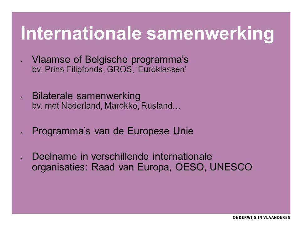 Internationale samenwerking Vlaamse of Belgische programma's bv. Prins Filipfonds, GROS, 'Euroklassen' Bilaterale samenwerking bv. met Nederland, Maro
