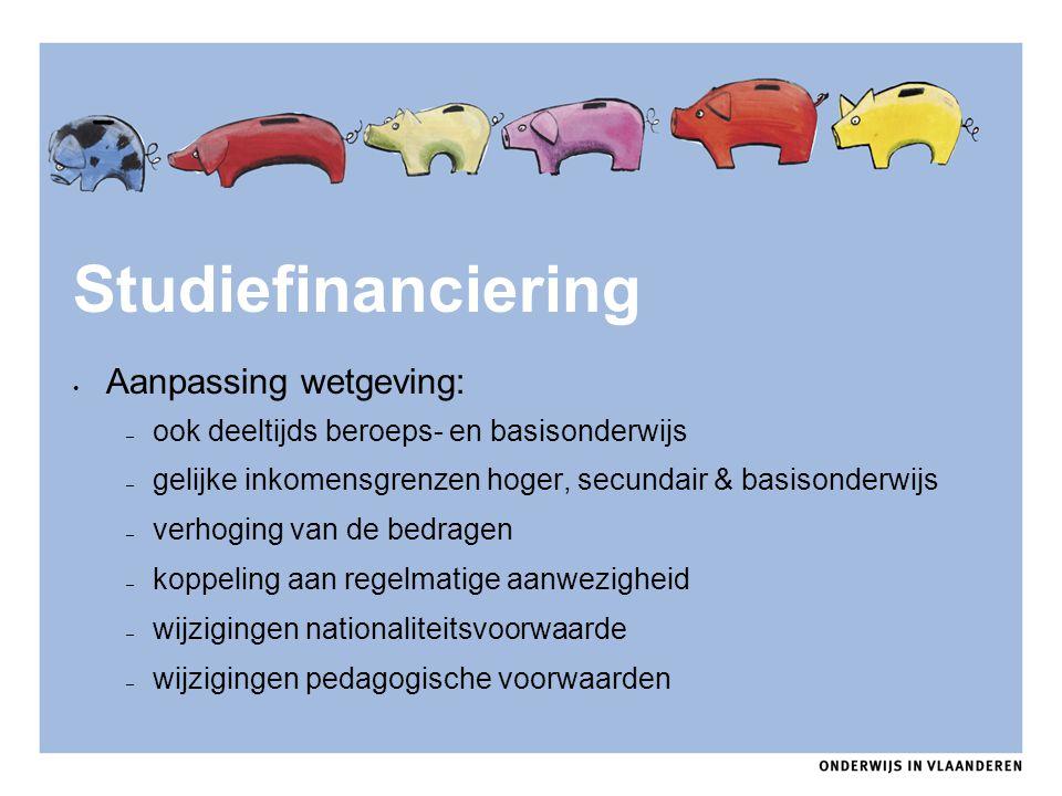 Studiefinanciering Aanpassing wetgeving: – ook deeltijds beroeps- en basisonderwijs – gelijke inkomensgrenzen hoger, secundair & basisonderwijs – verh