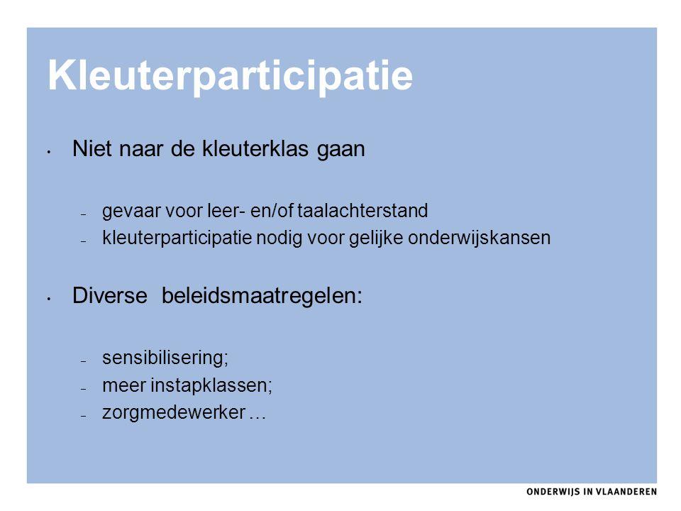 Kleuterparticipatie Niet naar de kleuterklas gaan – gevaar voor leer- en/of taalachterstand – kleuterparticipatie nodig voor gelijke onderwijskansen D