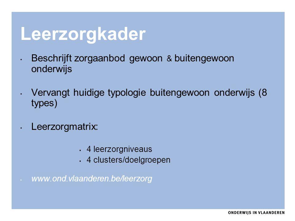 Leerzorgkader Beschrijft zorgaanbod gewoon & buitengewoon onderwijs Vervangt huidige typologie buitengewoon onderwijs (8 types) Leerzorgmatrix:  4 le