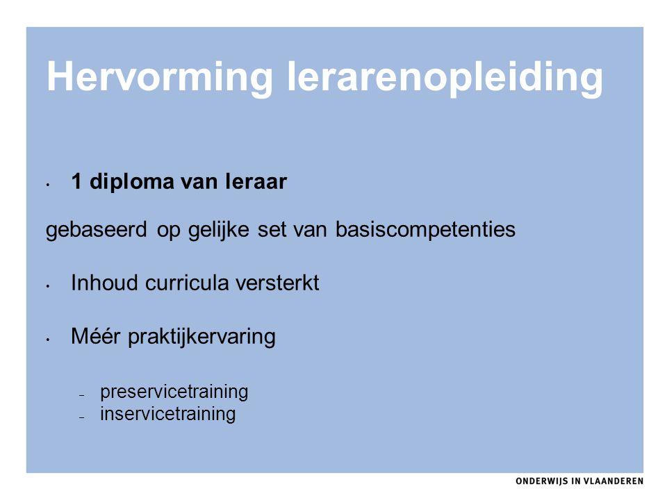 Hervorming lerarenopleiding 1 diploma van leraar gebaseerd op gelijke set van basiscompetenties Inhoud curricula versterkt Méér praktijkervaring – pre