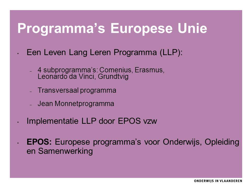 Programma's Europese Unie Een Leven Lang Leren Programma (LLP): – 4 subprogramma's: Comenius, Erasmus, Leonardo da Vinci, Grundtvig – Transversaal programma – Jean Monnetprogramma Implementatie LLP door EPOS vzw EPOS: Europese programma's voor Onderwijs, Opleiding en Samenwerking