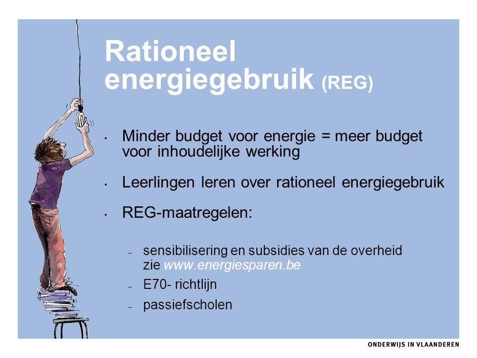 Rationeel energiegebruik (REG) Minder budget voor energie = meer budget voor inhoudelijke werking Leerlingen leren over rationeel energiegebruik REG-m