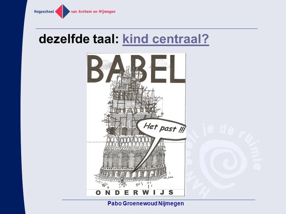 Pabo Groenewoud Nijmegen dezelfde taal: kind centraal?kind centraal?