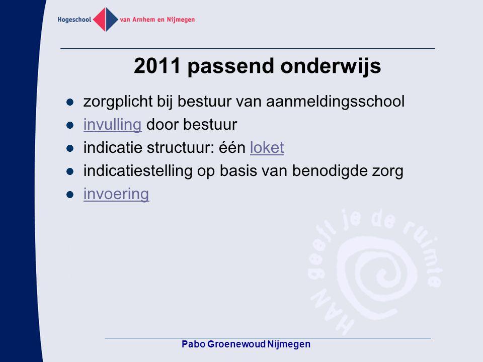 2011 passend onderwijs zorgplicht bij bestuur van aanmeldingsschool invulling door bestuur invulling indicatie structuur: één loketloket indicatiestel