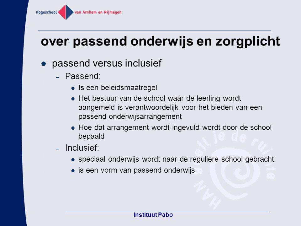 vormen van passend onderwijs Pabo Groenewoud Nijmegen Inclusief onderwijs Tussen samen en apart Zorgaanbod gericht Basiszorg gericht acceptatieniveau zorgniveau