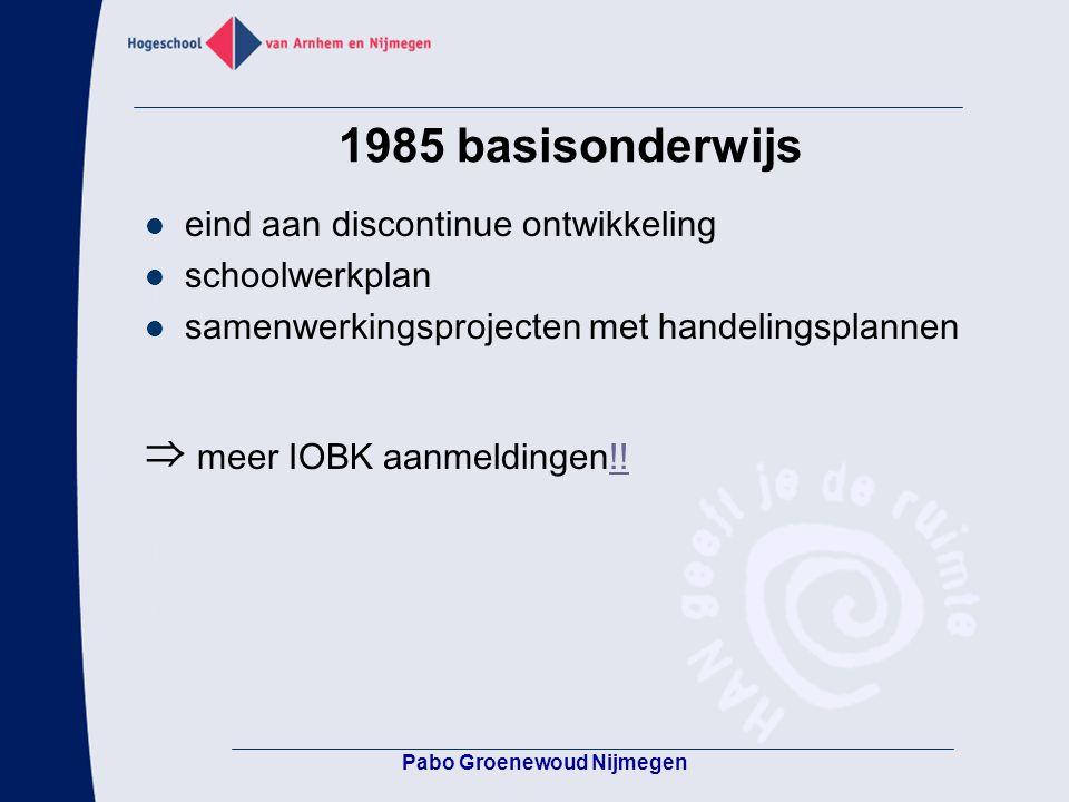 1985 basisonderwijs eind aan discontinue ontwikkeling schoolwerkplan samenwerkingsprojecten met handelingsplannen ⇒ meer IOBK aanmeldingen!!!! Pabo Gr