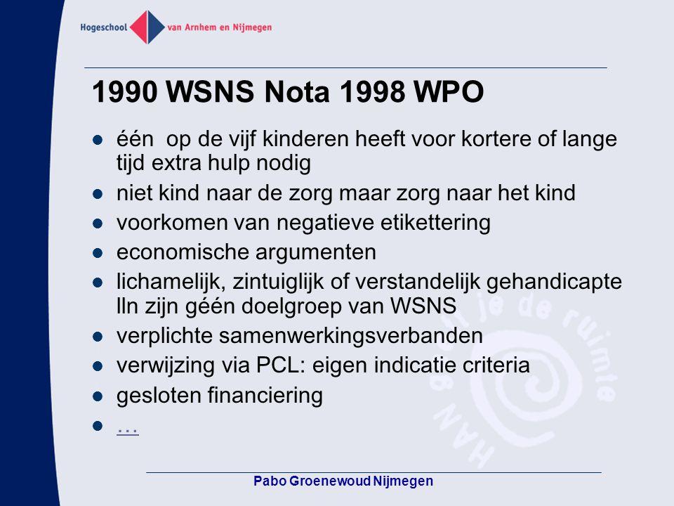 1990 WSNS Nota 1998 WPO één op de vijf kinderen heeft voor kortere of lange tijd extra hulp nodig niet kind naar de zorg maar zorg naar het kind voork
