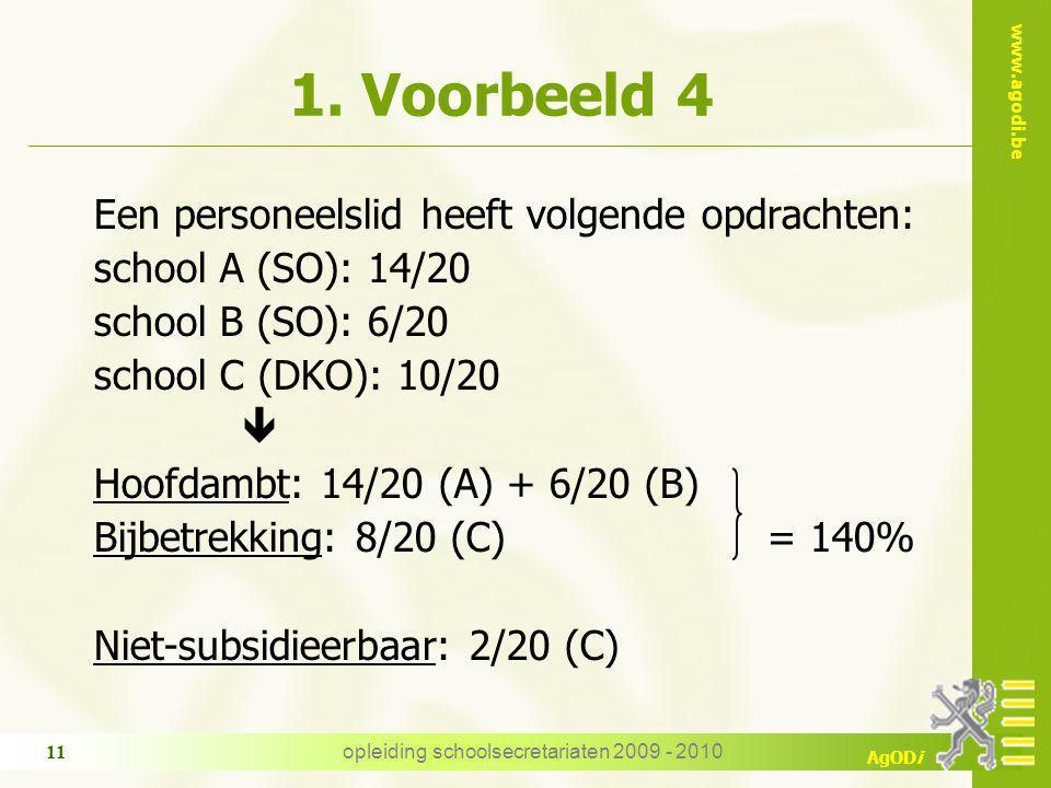 www.agodi.be AgODi opleiding schoolsecretariaten 2009 - 2010 11 1.
