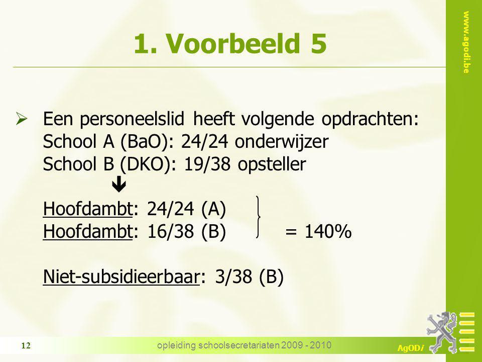 www.agodi.be AgODi opleiding schoolsecretariaten 2009 - 2010 12 1. Voorbeeld 5  Een personeelslid heeft volgende opdrachten: School A (BaO): 24/24 on