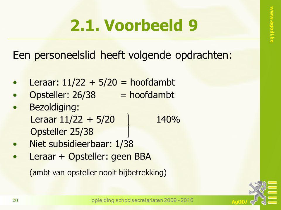www.agodi.be AgODi opleiding schoolsecretariaten 2009 - 2010 20 2.1.