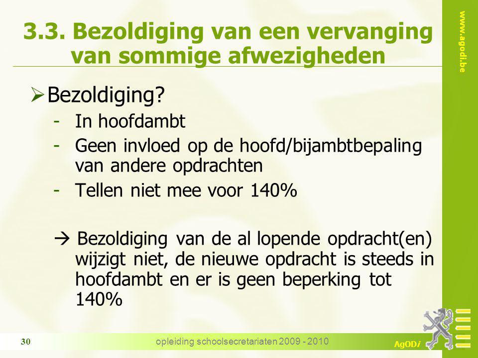 www.agodi.be AgODi opleiding schoolsecretariaten 2009 - 2010 30 3.3.