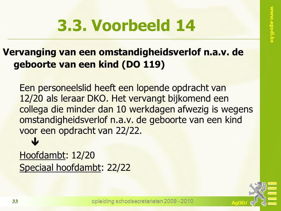 www.agodi.be AgODi opleiding schoolsecretariaten 2009 - 2010 33 3.3. Voorbeeld 14 Vervanging van een omstandigheidsverlof n.a.v. de geboorte van een k