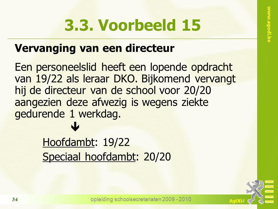 www.agodi.be AgODi opleiding schoolsecretariaten 2009 - 2010 34 3.3.