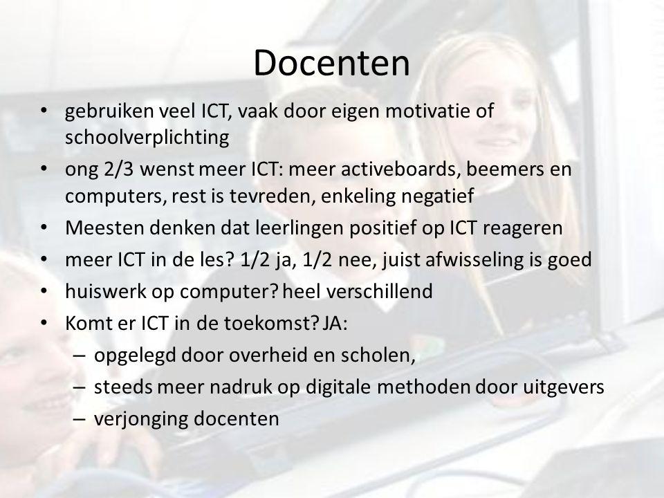 Docenten gebruiken veel ICT, vaak door eigen motivatie of schoolverplichting ong 2/3 wenst meer ICT: meer activeboards, beemers en computers, rest is tevreden, enkeling negatief Meesten denken dat leerlingen positief op ICT reageren meer ICT in de les.