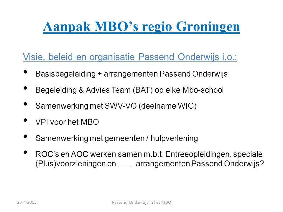 Aanpak MBO's regio Groningen Visie, beleid en organisatie Passend Onderwijs i.o.: Basisbegeleiding + arrangementen Passend Onderwijs Begeleiding & Adv