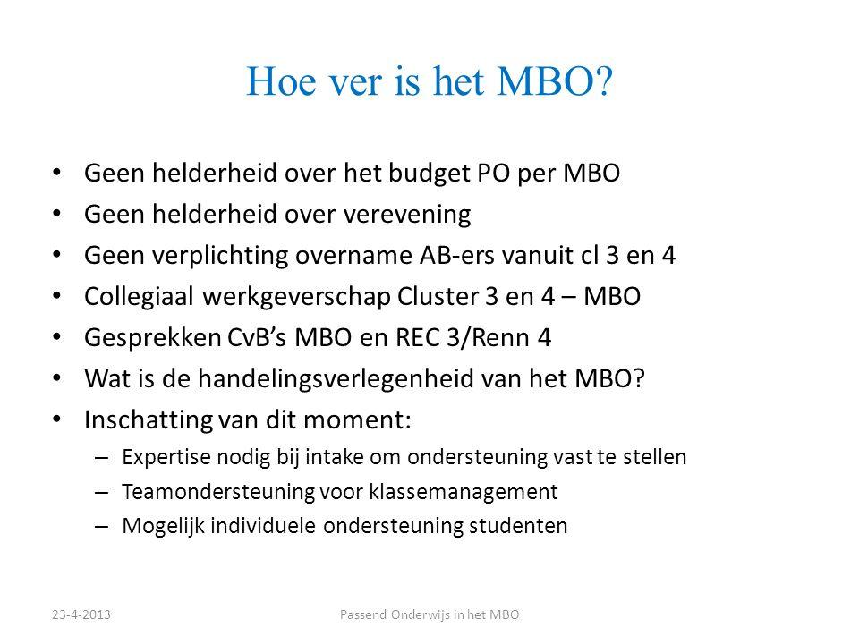 Hoe ver is het MBO? Geen helderheid over het budget PO per MBO Geen helderheid over verevening Geen verplichting overname AB-ers vanuit cl 3 en 4 Coll