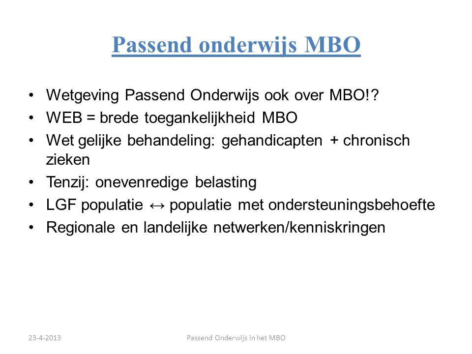 Passend onderwijs MBO Wetgeving Passend Onderwijs ook over MBO!? WEB = brede toegankelijkheid MBO Wet gelijke behandeling: gehandicapten + chronisch z