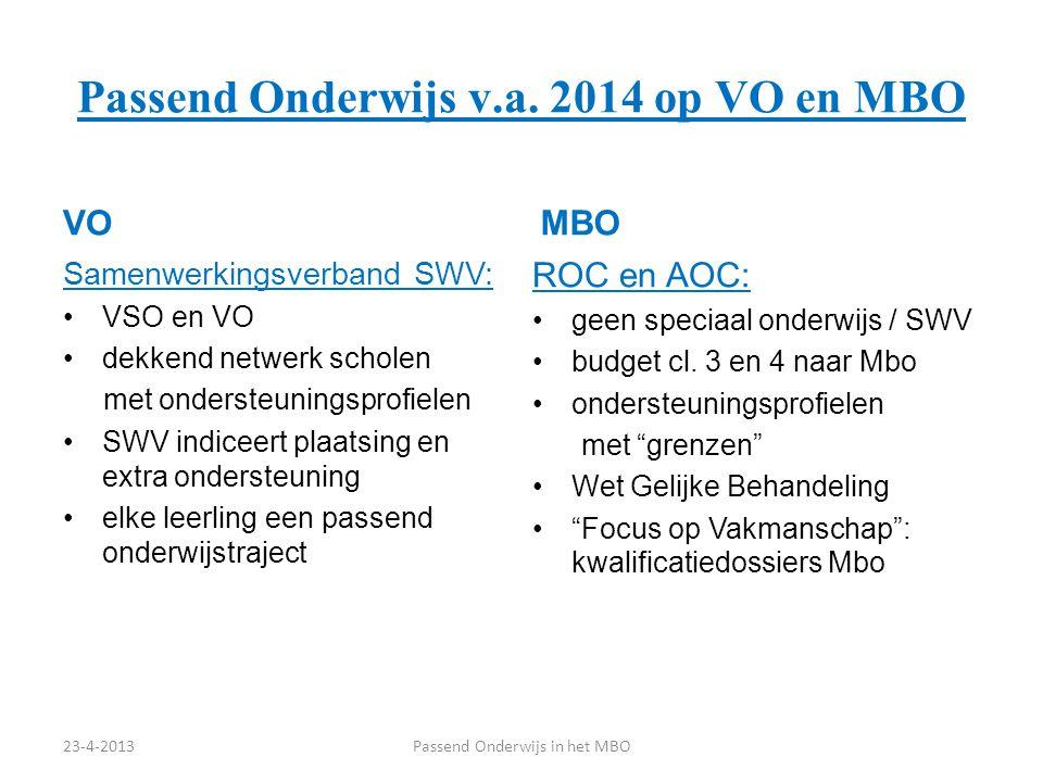 Passend Onderwijs v.a. 2014 op VO en MBO VO Samenwerkingsverband SWV: VSO en VO dekkend netwerk scholen met ondersteuningsprofielen SWV indiceert plaa