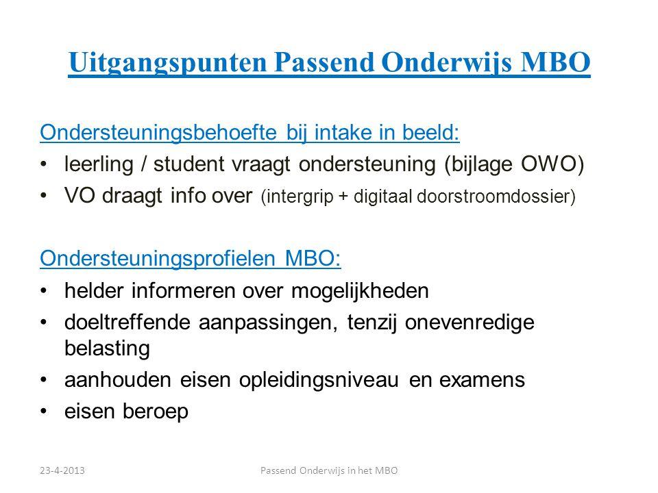 Uitgangspunten Passend Onderwijs MBO Ondersteuningsbehoefte bij intake in beeld: leerling / student vraagt ondersteuning (bijlage OWO) VO draagt info
