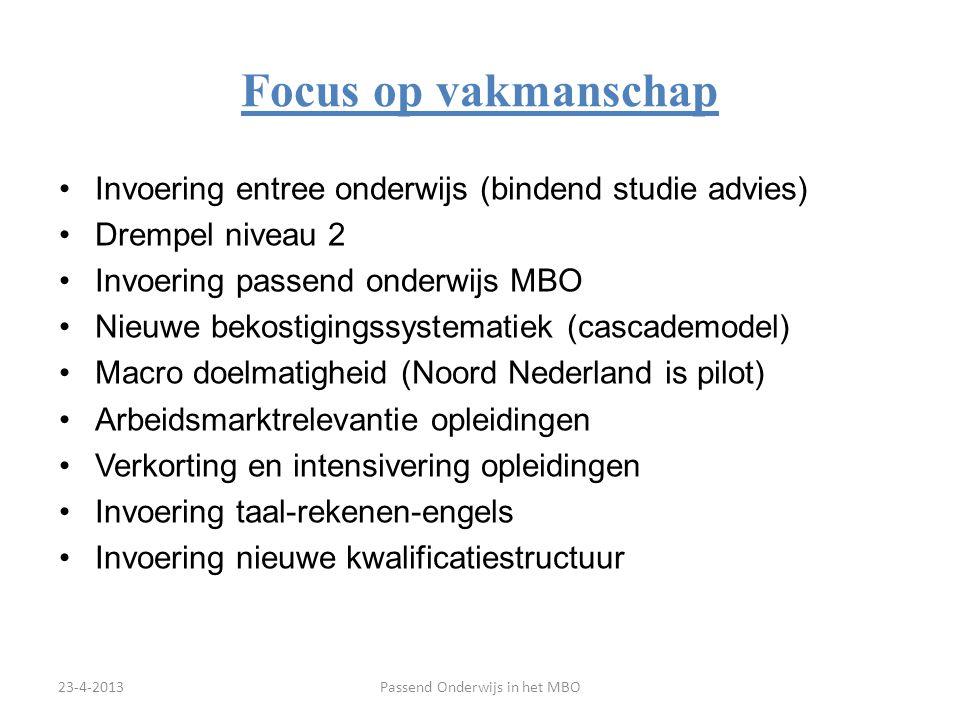 Invoering entree onderwijs (bindend studie advies) Drempel niveau 2 Invoering passend onderwijs MBO Nieuwe bekostigingssystematiek (cascademodel) Macr