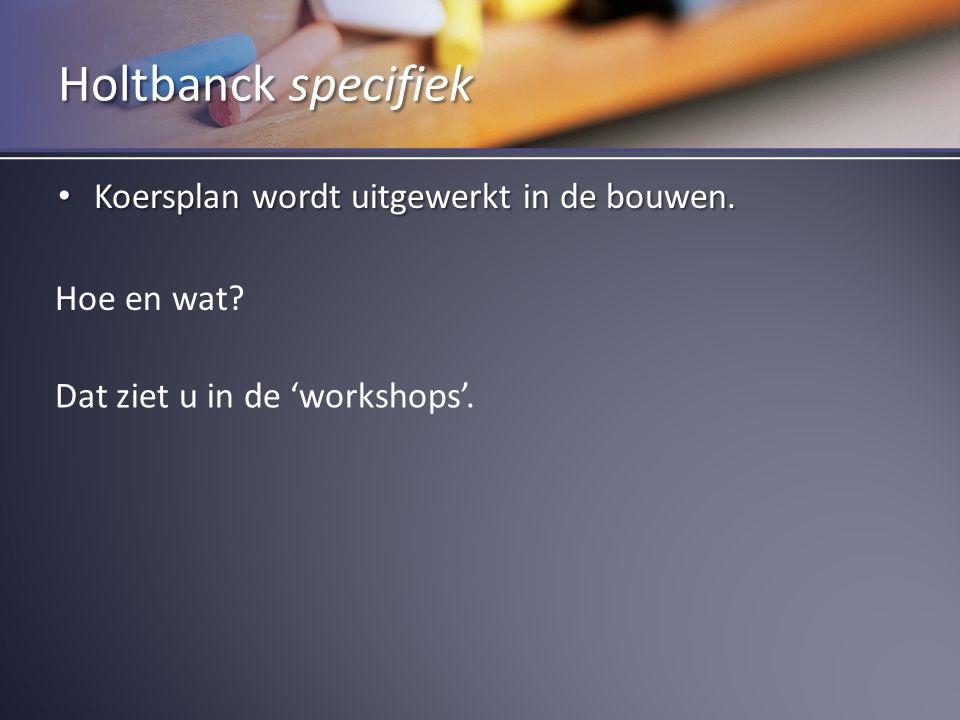 Koersplan wordt uitgewerkt in de bouwen. Koersplan wordt uitgewerkt in de bouwen. Holtbanck specifiek Hoe en wat? Dat ziet u in de 'workshops'.