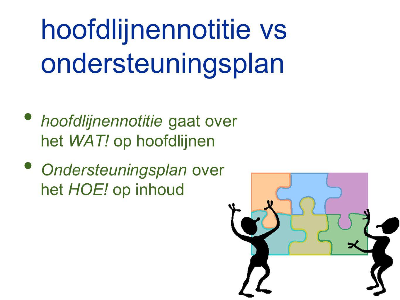 hoofdlijnennotitie vs ondersteuningsplan hoofdlijnennotitie gaat over het WAT! op hoofdlijnen Ondersteuningsplan over het HOE! op inhoud