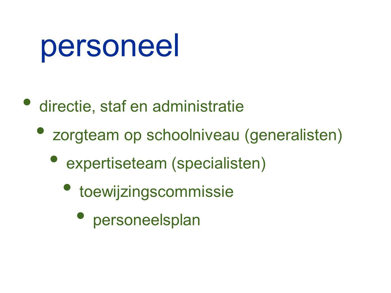 personeel directie, staf en administratie zorgteam op schoolniveau (generalisten) expertiseteam (specialisten) toewijzingscommissie personeelsplan