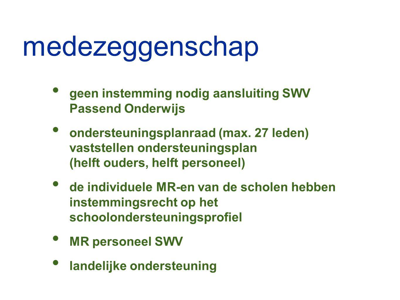 medezeggenschap geen instemming nodig aansluiting SWV Passend Onderwijs ondersteuningsplanraad (max. 27 leden) vaststellen ondersteuningsplan (helft o