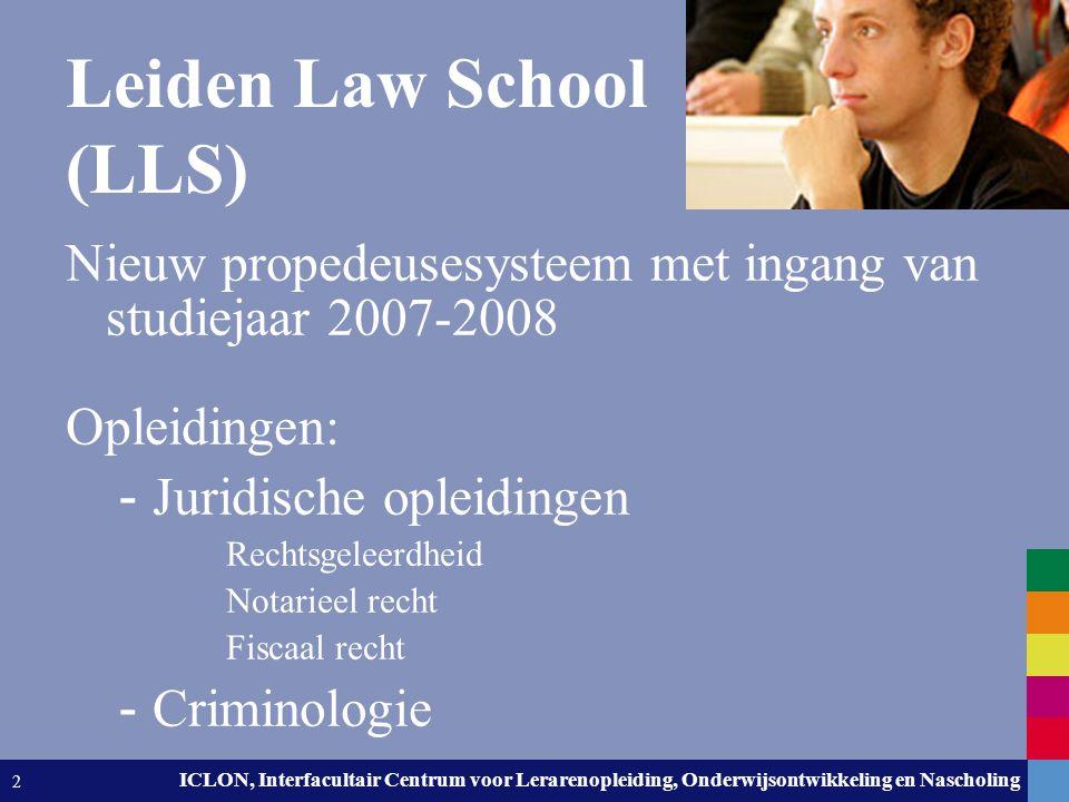 Leiden University. The university to discover. ICLON, Interfacultair Centrum voor Lerarenopleiding, Onderwijsontwikkeling en Nascholing 2 Leiden Law S