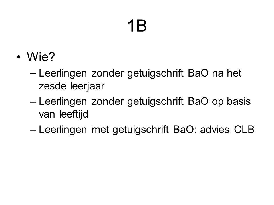 1B Wie? –Leerlingen zonder getuigschrift BaO na het zesde leerjaar –Leerlingen zonder getuigschrift BaO op basis van leeftijd –Leerlingen met getuigsc