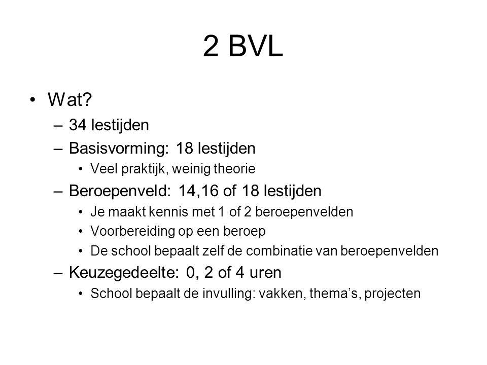 2 BVL Wat? –34 lestijden –Basisvorming: 18 lestijden Veel praktijk, weinig theorie –Beroepenveld: 14,16 of 18 lestijden Je maakt kennis met 1 of 2 ber