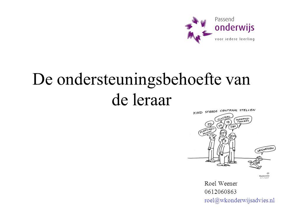 Roel Weener 0612060863 roel@wkonderwijsadvies.nl De ondersteuningsbehoefte van de leraar