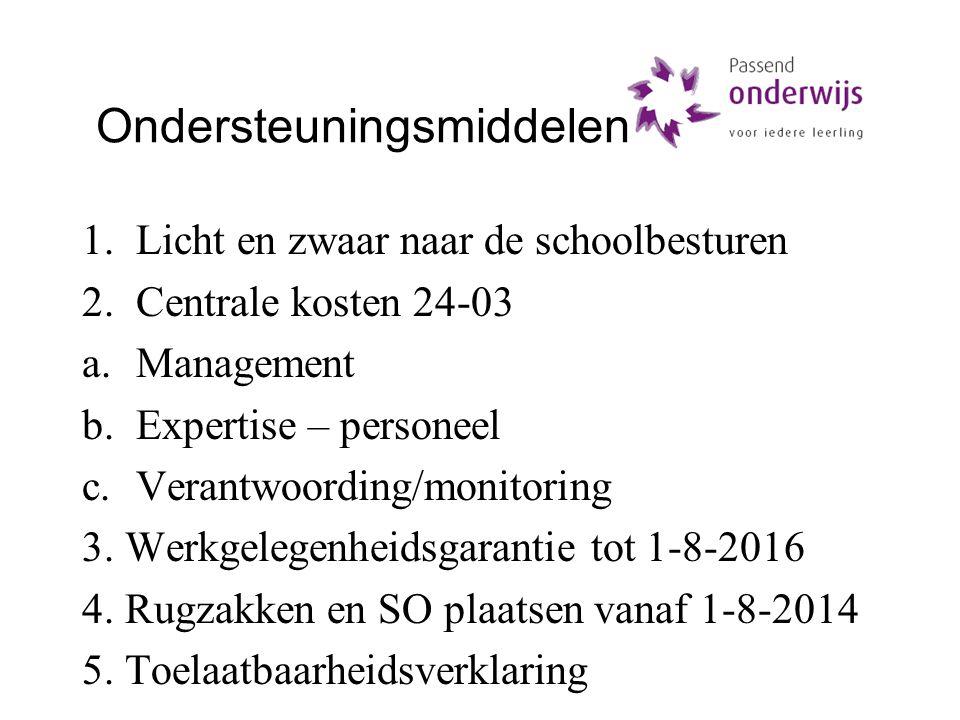 Ondersteuningsmiddelen 1.Licht en zwaar naar de schoolbesturen 2.Centrale kosten 24-03 a.Management b.Expertise – personeel c.Verantwoording/monitoring 3.