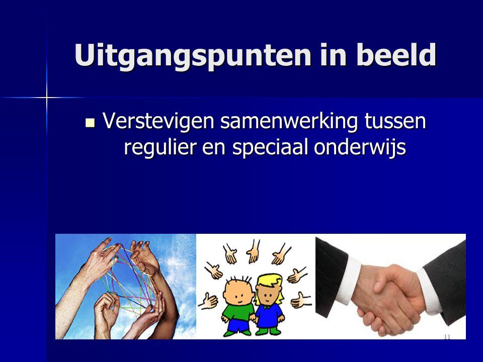 Uitgangspunten in beeld Verstevigen samenwerking tussen regulier en speciaal onderwijs Verstevigen samenwerking tussen regulier en speciaal onderwijs