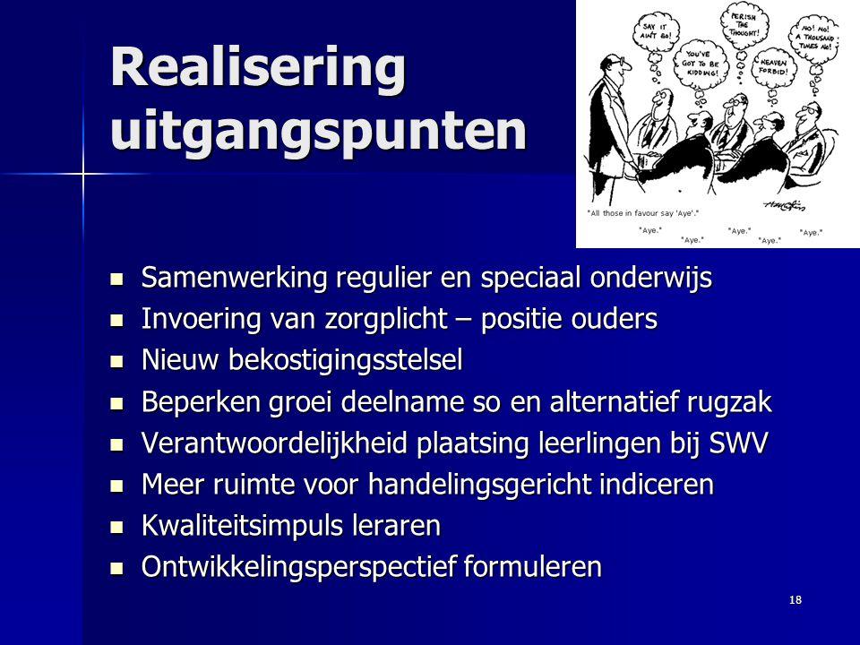Realisering uitgangspunten Samenwerking regulier en speciaal onderwijs Samenwerking regulier en speciaal onderwijs Invoering van zorgplicht – positie